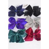 "Hair Bow Jumbo Lace Double Layered Grosgrain Bow-tie Dark Multi/DZ **Dark Multi** Alligator Clip,Bow-6""x 6"" Wide,2 of Each Color Asst,Clip Strip & UPC Code"