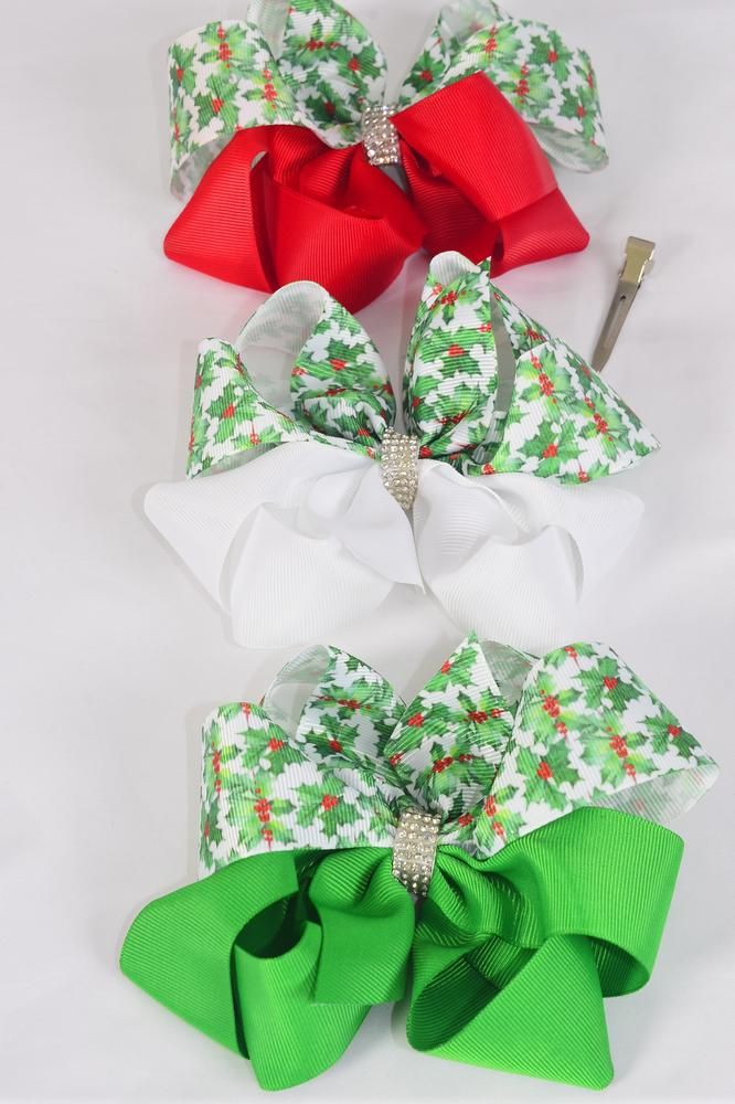 "Hair Bow Jumbo XMAS Christmas Holly Grosgrain Bowtie Red White Green Mix/DZ **Alligator Clip** Size-6""x 6"" Wide,4 of each Color Asst,Clip Strip & UPC Code"