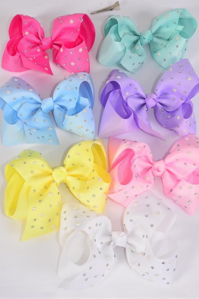 "Hair Bow Jumbo Bow Pearl Studded Grosgrain Bowtie Pastel/DZ **Pastel** Size-6"" x 5"",Alligator Clip,2 White,2 Baby Pink,2 Lavender,2 Hot Pink,2 Mint Green,1 Blue,1 Yellow,7 Color Asst,Clip Strip & UPC Code"