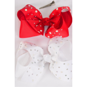 "Hair Bow Jumbo Bow Pearl Studded Grosgrain Bowtie Red White Mix/DZ **Red & White** Alligator Clip** Size-6""x 5"" Wide,6 of each Color Asst,Clip Strip & UPC Code"