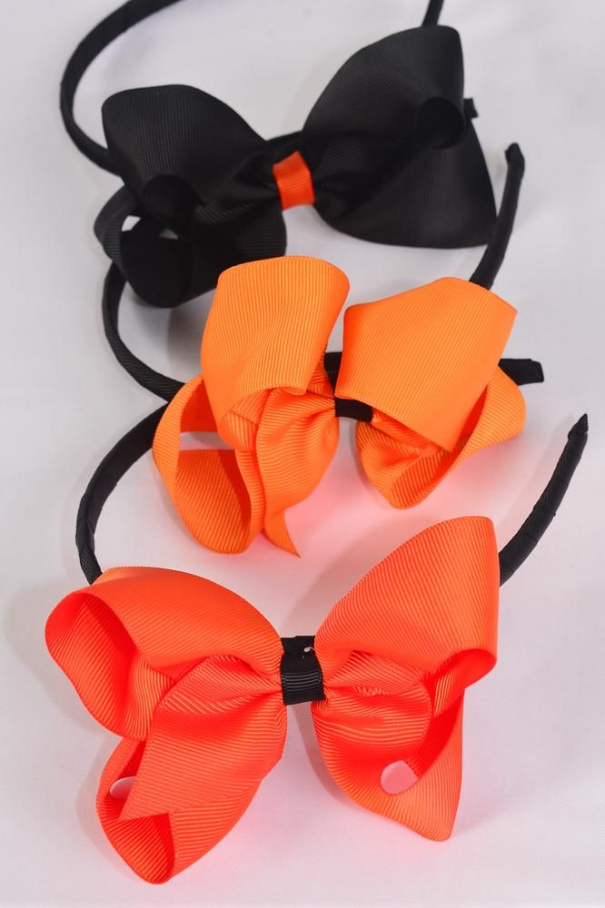 "Headband Halloween Grosgrain Bow-tie 6""x 5"" Wide/DZ Bow-6""x 5"" Wide,4 of each Color Asst,Hang Tag & UPC Code,Clear Box"