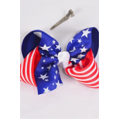 "Hair Bow Extra Jumbo Tritone Patriotic Stars & Stripes Grosgrain Bowtie/DZ ** Alligator Clip** Bow-6""x 5"" Wide,Clip Strip & UPC Code"