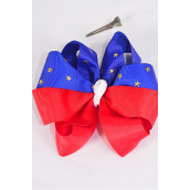 "Hair Bow Extra Jumbo Tritone Patriotic Gold Star Stauded Grosgrain Bowtie/DZ **Alligator Clip** Bow-6""x 6"" Wide,Clip Strip & UPC Code"
