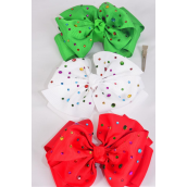 "Hair Bow Jumbo XMAS Double Layered Studded Multi Color Stones Grosgrain Bow-tie/DZ **XMAS** Alligator Clip,Size-6""x 6"" Wide,4 of each Color Asst,Clip Strip & UPC Code"