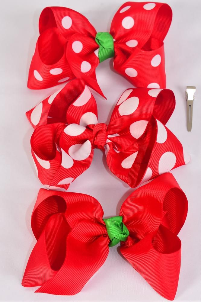 "Hair Bow Jumbo XMAS Red Polk adots Mix Grosgrain Bow-tie/DZ **Red Polka-dot Mix** Alligator Clip,Size-6""x 5"" Wide,4 of each Pattern Mix,Clip Strip & UPC Code"
