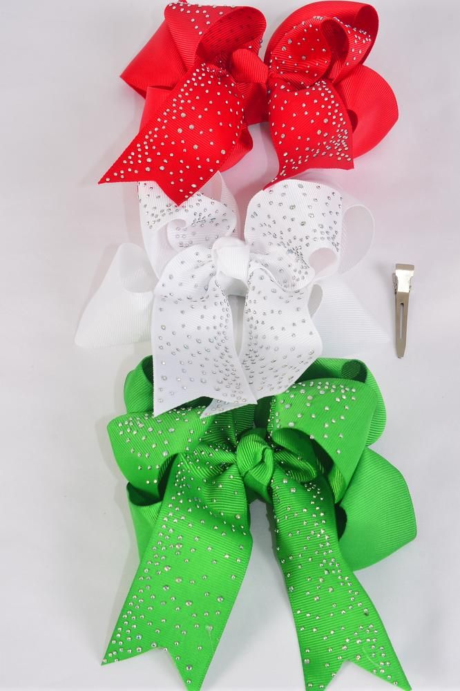 "Hair Bow Jumbo XMAS Double Layered Studded Iridescent Stones Grosgrain Bow-tie/DZ **XMAS** Alligator Clip,Size-6""x 6"" Wide,4 of each Color Asst,Clip Strip & UPC Code"