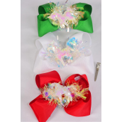 "Hair Bow Jumbo XMAS Iridescent   Center Unicorn Charm Grosgrain Bow-tie/DZ **XMAS** Alligator Clip,Bow-6""x 6"" Wide,4 Of each Color Asst,Clip Strip & UPC Code"