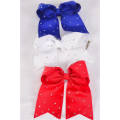 "Hair Bow Extra Jumbo Long Tail Cheer Type Bow Patriotic Clear Stone Studded Grosgrain Bow-tie Red White Blue Mix/DZ **Alligator Clip** Size-6.5""x 6"" Wide,4 Red,4 White,4 Royal Blue Color Asst,Clip Strip & UPC Code"
