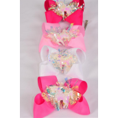 "Hair Bow Jumbo Pom Pom Iridescent   Center Unicorn Charm Grosgrain Bow-tie/DZ **Pink Mix** Alligator Clip,Bow-6""x 6"" Wide,3 White,3 Baby Pink,3 Hot Pink,3 Fuchsia Asst,Clip Strip & UPC Code"