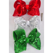 "Hair Bow Jumbo XMAS Double Layered Sequin Red White Green Mix Grosgrain Bowtie/DZ **Alligator Clip** Size-6""x 5"" Wide,4 Red,4 White,4 Black,3 Color Asst,Clip Strip & UPC Code."