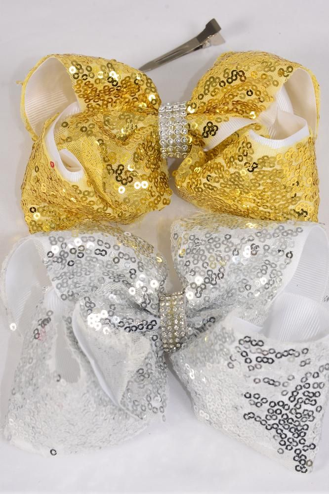 "Hair Bow Jumbo Double Layered Sequin Gold Silver Mix Grosgrain Bowtie/DZ **Alligator Clip** Size-6""x 5"" Wide,6 Gold,6 Silver Asst,Clip Strip & UPC Code."