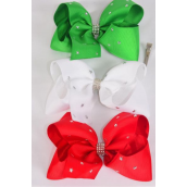 "Hair Bow Jumbo XMAS Silver Star Studded Grosgrain Bowtie Red White Green Mix/DZ **Alligator Clip** Size-6""x 5"" Wide,4 of each Color Asst,Clip Strip & UPC Code"