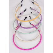 Headband Horseshoe Double Layered Pearl All Hand Beaded/DZ **Pastel** 2 of Each Color Asst,OPP Bag & UPC Code