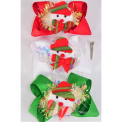 "Hair Bow Jumbo XMAS Pom Pom Iridescent Center Snowman Grosgrain Bow-tie/DZ **XMAS** Alligator Clip,Bow-6""x 6"" Wide,4 Of each Color Asst,Clip Strip & UPC Code"