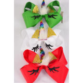 "Hair Bow Jumbo Xmas Unicorn Multi Flip Sequin XMAS Grosgrain Bow-tie/DZ **XMAS* Bow Size-6""x 6"",Alligator Clip,4 of each Color Asst,Clip Strip & UPC Code"
