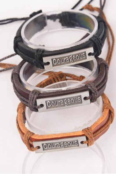 Bracelet Real Leather Band Courageous/DZ **Unisex** Adjustable,4 of each Color Mix,Individual Hang tag & OPP Bag & UPC Code
