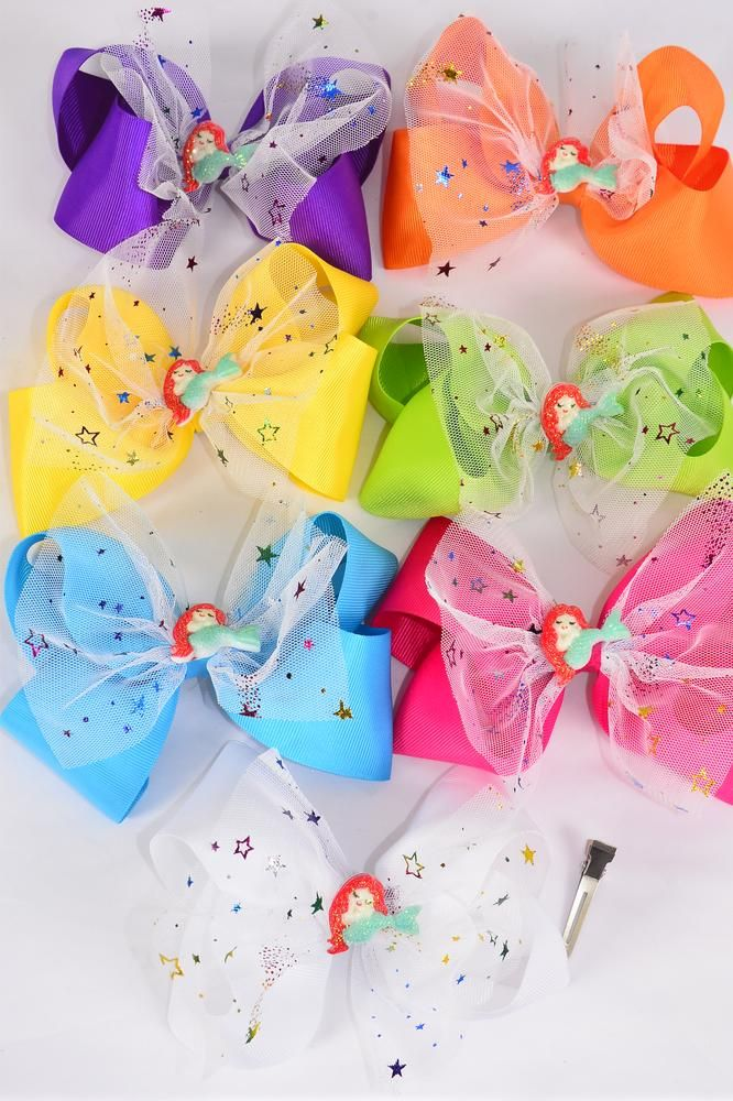 "Hair Bow Jumbo Double Layered Center Mermaid Charm Citrus Grosgrain Bow-tie/DZ **Citrus** Size-6""x 6"" Wide,Alligator Clip,2 Fuchsia,2 Blue,2 Yellow,2 Purple,2 White,1 Lime,1 Orange,7 Color mix,Clip Strip & UPC Code"