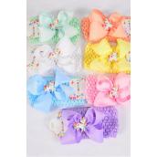 "Ballerina Headband Unicorn Charm Grosgrain Bowtie Pastel/DZ **Pastel** Stretch,Ballerina-2.75"" Wide,Bow-5""x 5"",2 White,2 Pink,2 Blue,2 Purple,2 Yellow,1 Peach,1 Mint Green Mix,Hang Tag & OPP Bag UPC Code"