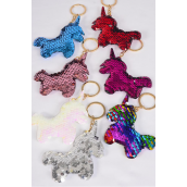 "Key Chain Flip Sequin Baby Unicorn Multi/DZ **Multi** Size-3.5""x 3.5"" Wide,2 Silver,2 Red,2 Multi,2 White,2 Pink,1 Fuchsia,1 Blue,7 Color Asst,OPP Bag"