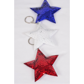 "Key Chain Flip Sequin Star Red white Royal Blue/DZ Size-4.5"" Wide,4 of each Color Asst,OPP Bag"