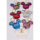 "Key Chain Flip Sequin Mouse Ear Multi/DZ **Multi** Size-3.5""x 3.5"" Wide,2 Silver,2 Red,2 Multi,2 White,2 Pink,1 Fuchsia,1 Blue,7 Color Asst,OPP Bag"