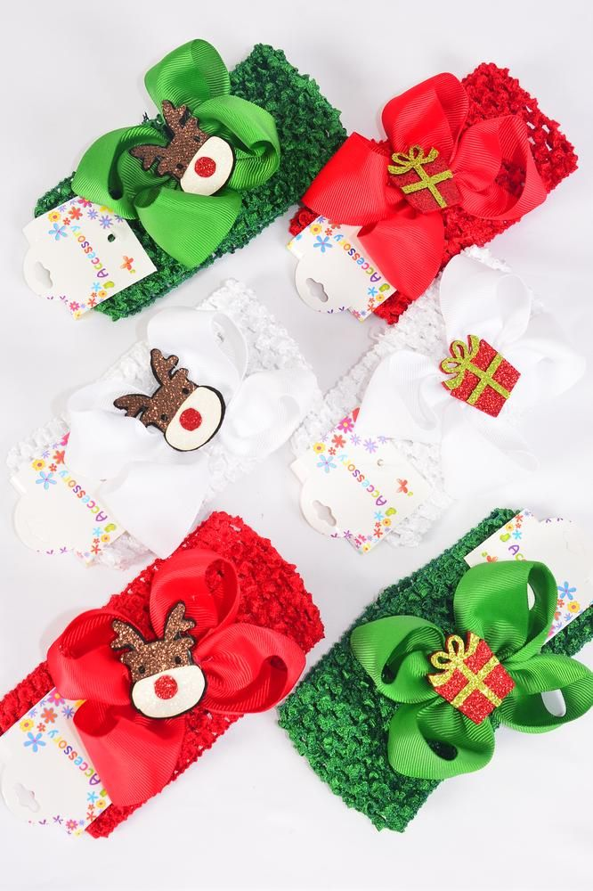 "Ballerina Headband XMAS Gift Box & Deer Grosgrain Bowtie/DZ **XMAS** Stretch,Ballerina-2.75"" Wide,Bow-5""x 5"" Wide,2 of each Color Asst,Hang tag & OPP bag & UPC Code"
