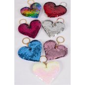 "Key Chain Flip Sequin Heart Multi/DZ **Multi** Size-4.5""x 3.25"" Wide,2 Black,2 Red,2 Multi,2 White,2 Pink,1 Fuchsia,1 Blue,7 Color Asst,OPP Bag"