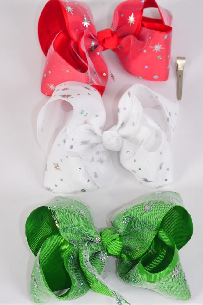 "Hair Bow Jumbo XMAS Double Layered Star Hologram Red White Green Mix Grosgrain Bowtie/DZ **Alligator Clip** Size-6""x 5"" Wide,4 Red,4 White,4 Green,3 Color Asst,Clip Strip & UPC Code."
