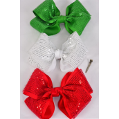"Hair Bow Extra Jumbo XMAS Cheer Type Bow Double layered  Red Grosgrain Bow-tie/DZ **Alligator Clip** Size-8""x 7"" Wide,4 of each Color Asst,Clip Strip & UPC Code"