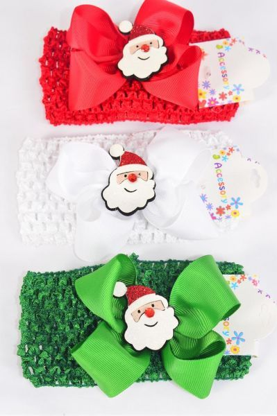 "Ballerina Headband XMAS Santa Grosgrain Bowtie/DZ **Santa** Stretch,Ballerina-2.75"" Wide,Bow-5""x 5"" Wide,4 of each Color Asst,Hang tag & OPP bag & UPC Code"