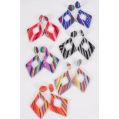 "Earrings Dangle Aztec Multi/DZ **Post** Size-2.5""x 2"" Wide,2 of each Color Asst,Earring Card & OPP Bag & UPC Code"