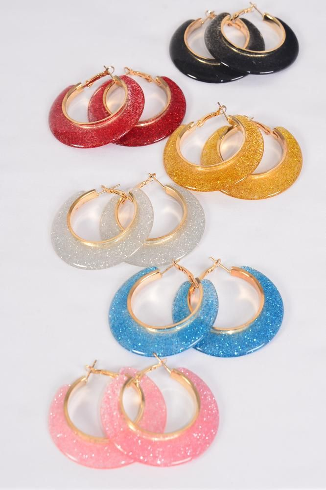 "Earrings Poly Loop Glitter Multi/DZ **Post** Size-2"" Wide,2 of each Color Asst,Earring Card & OPP Bag & UPC Code"