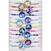 Bracelet Unicorn Glass Dome Multi/DZ Pull-String,Adjustable,12 Color Mix,Hang tag & OPP Bag & UPC Code,1 Dozen per Card