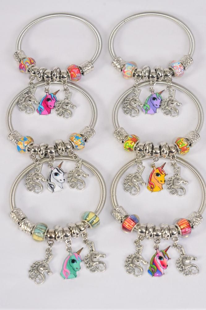 Charm Bracelet Unicorn Charms/DZ **Stretch** Hang Tag & Opp Bag & UPC Code