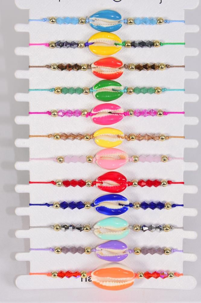 Bracelet Enamel Color Real Seashells/DZ Pull- String,Adjustable,12 Color Mix,Hang tag & OPP Bag & UPC Code,1 Dozen per Card