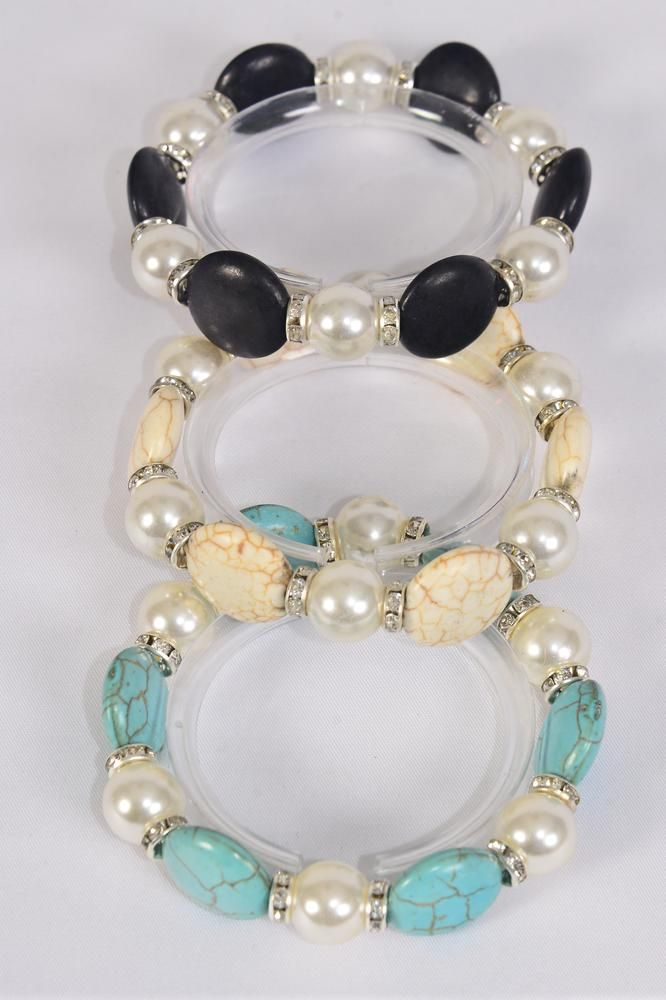 Bracelet 12 mm Glass Pearl & Round Semiprecious Stone & Bezels Stretch/DZ **Stretch** 4 Black,4 Ivory,4 Turquoise,3 Color Asst,Hang Tag & Opp Bag & UPC Code -