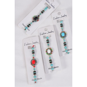 Bracelet Semiprecious Stone Silver Bohemian/DZ **Stretch** 3 Of each Color Asst,Hang Tag & OPP Bag & UPC Code