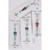 Bracelet Semiprecious Stone Color Rhinestone Owl/DZ **Pull-String** Adjustable 3 Of each Color Asst,Hang Tag & OPP Bag & UPC Code