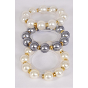Bracelet 16 mm ABS Pearl & Rhinestone Bezel All Around Stretch/DZ match 70207 **Stretch** 4 White,4 Ivory,4 Gray Asst,Hang Tag & Opp Bag & UPC Code