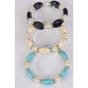 Bracelet 10 mm Glass Pearl & 12 mm Oval Semiprecious Stone Stretch/DZ **Stretch** 4 Black,4 Ivory,4 Turquoise,3 Color Asst,Hang Tag & Opp Bag & UPC Code -
