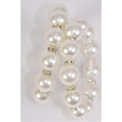 Bracelet 16 mm ABS Pearl & Rhinestone Bezel All Around Stretch White/DZ match 70205 **Stretch** White, Hang Tag & Opp Bag & UPC Code