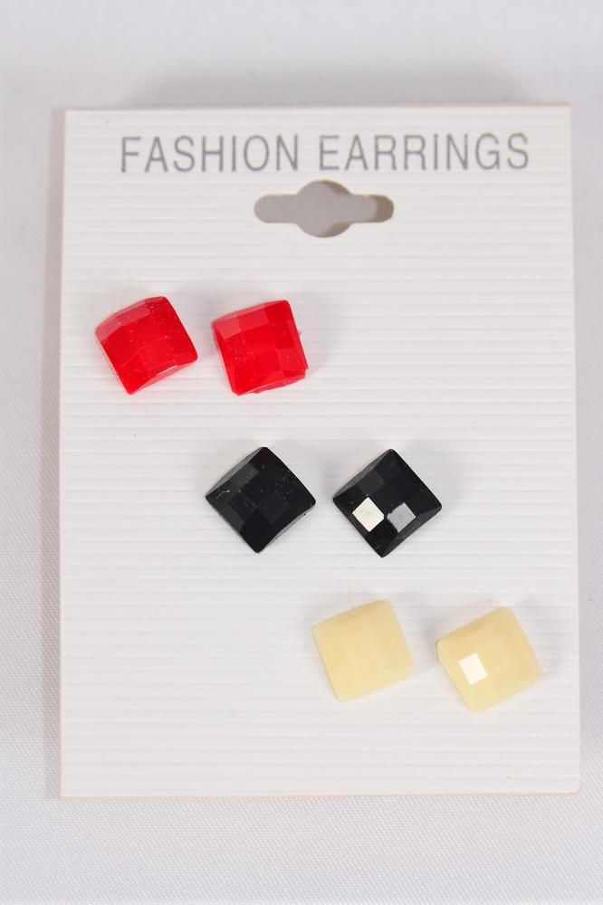 Earrings 3 Pair Poly Square Infinity Cut/DZ **Post** Black White Red Mix,Earring Card & OPP bag & UPC Code,3 pair per Card,12 card= Dozen