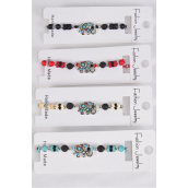 Bracelet Semiprecious Stone Color Rhinestone Elephant/DZ **Pull-String** Adjustable 3 Of each Color Asst,Individual Hang Tag & OPP Bag & UPC Code