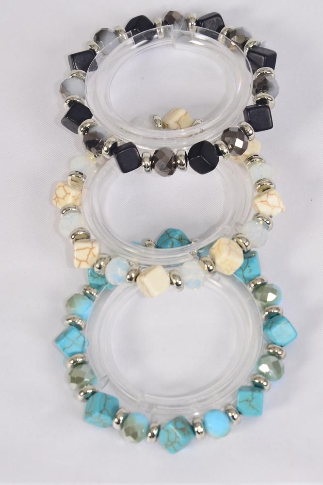 Bracelet 10 mm Glass Crystal &  Square Semiprecious Stone Mix/DZ **Stretch** 4 Ivory,4 Black,4 Turquoise Mix,Hang Tag & Opp Bag & UPC Code -