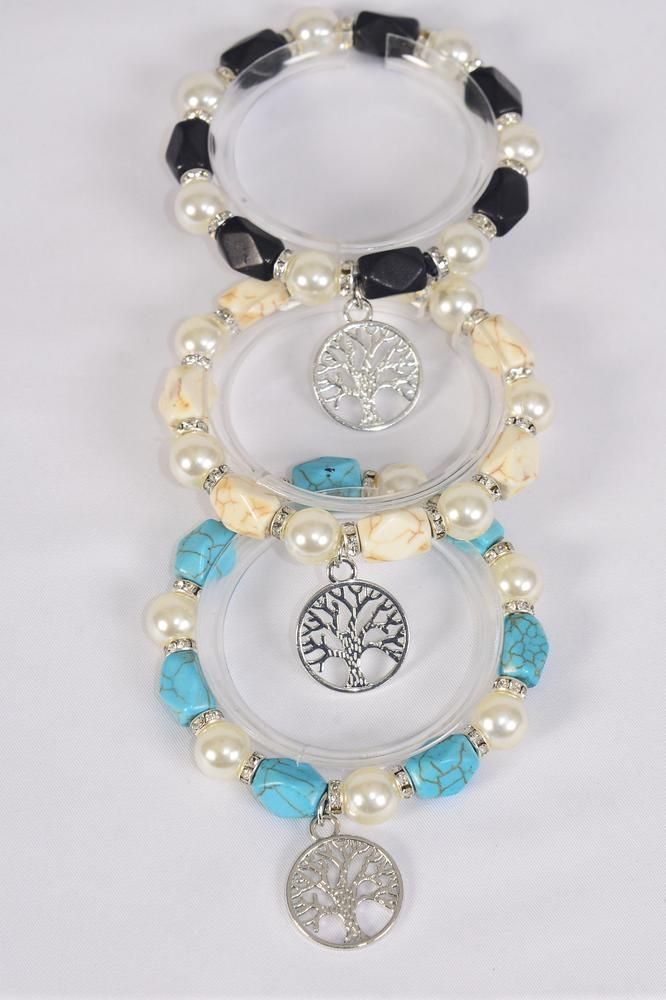 Charm Bracelet 12 mm Glass Pearl & Semiprecious Stone & Rhinestone Bezel Stretch Tree Of Life/DZ **Stretch** 4 Ivory,4 Black,4 Turquoise Mix,Hang Tag & Opp Bag & UPC Code -
