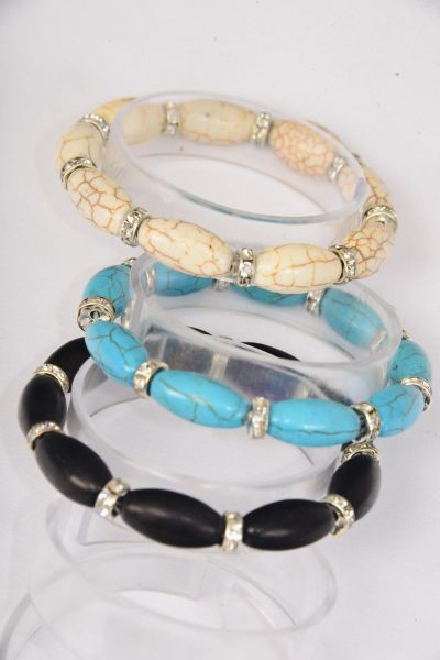Bracelet Oval Semiprecious Stone & Rhinestone Bezel Mix Stretch/DZ **Stretch** 4 Black,4 Ivory,4 Turquoise,3 Color Asst,Hang Tag & OPP Bag & UPC Code -