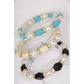 Bracelet 12 mm Glass Pearl & Semiprecious Stone & Rhinestone Bezel Mix Stretch/DZ **Stretch** 4 Ivory,4 Black,4 Turquoise Mix,Hang Tag & Opp Bag & UPC Code -