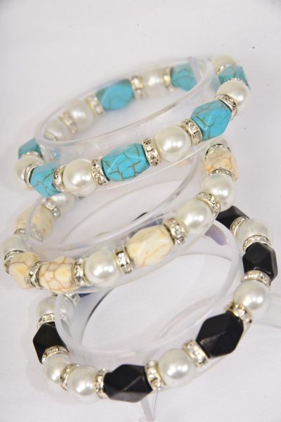 Bracelet 12 mm Glass Pearl & Semiprecious Stone & Rhinestone Bezel Mix Stretch/DZ **Stretch** 4 Ivory,4 Black,4 Turquoise Mix,Hang Tag & Opp Bag & UPC Code -