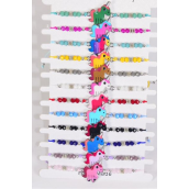 Bracelet Enamel Baby Unicorn Glass Crystals/DZ match 00078 Pull-String,Adjustable, 12 Color Mix,Hang tag & OPP Bag & UPC Code,1 Dozen per Card