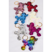 "Key Chain Flip Sequin Poodle Multi/DZ **Multi** Size-3.5""x 3.5"" Wide,2 Silver,2 Red,2 Multi,2 White,2 Pink,1 Fuchsia,1 Blue,7 Color Asst,OPP Bag"